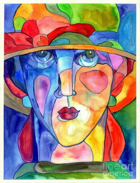 Expressionism Painting - Lady In Hat Watercolor by Suzann's Art