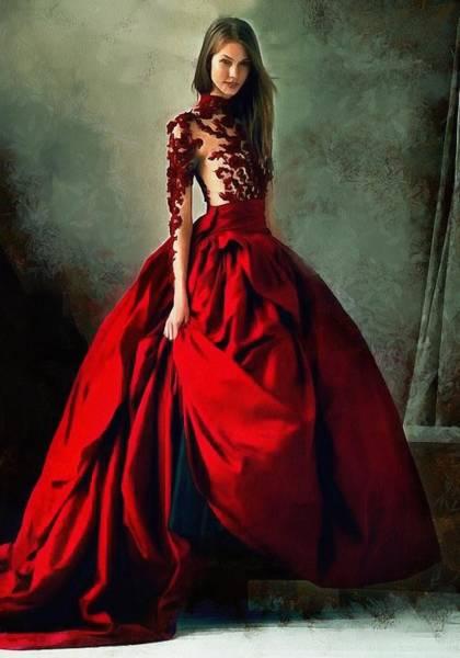 Digital Art - Lady In Red by Charmaine Zoe