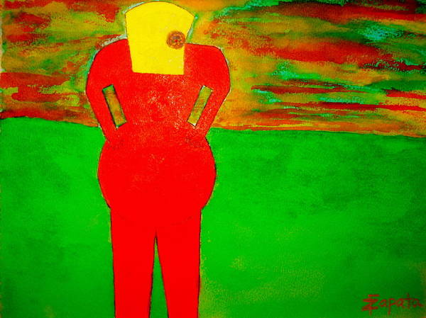 Lady In Red Looking At Sunset Art Print