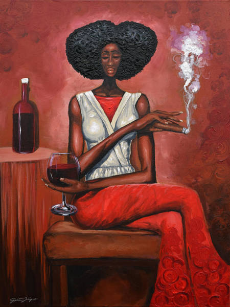 Wall Art - Painting - Lady In Red by The Art of DionJa'Y
