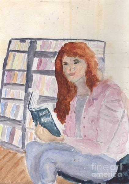 Wall Art - Painting - Lady In The Library Reading by Pamela  Meredith