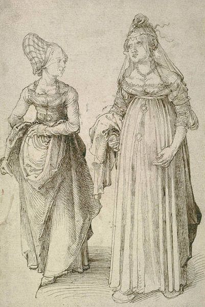 Albrecht Durer Wall Art - Drawing - Lady In Venetian Dress Contrasted With A Nuremberg Hausfrau by Albrecht Durer