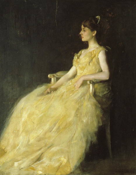 Wall Art - Painting - Lady In Yellow by Thomas Wilmer Dewing