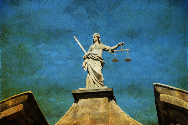 Lady Justice. Streets Of Dublin. Painting Collection Art Print