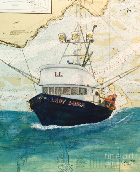 Cathy Painting - Lady Laura Oregon Fishing Boat Nautical Chart Art Cathy Peek by Cathy Peek