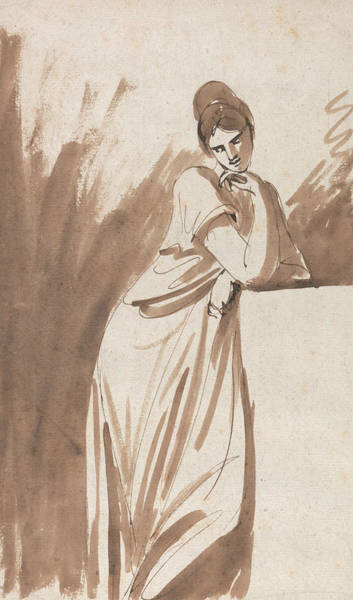 Wall Art - Drawing - Lady Leaning On A Column by George Romney