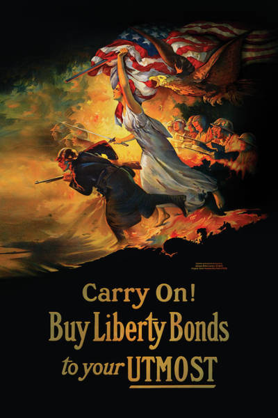 War Bonds Digital Art - Lady Liberty And Soldiers With American Flag by James Larkin