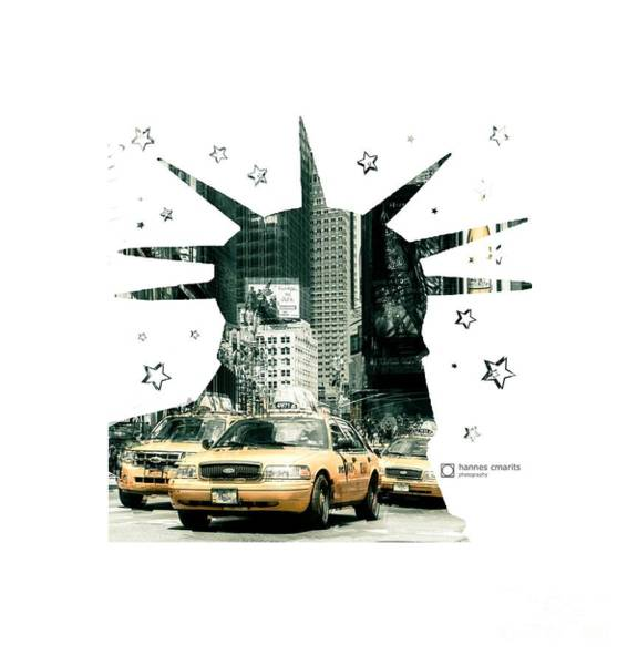 Photograph - Lady Liberty And The Yellow Cabs by Hannes Cmarits