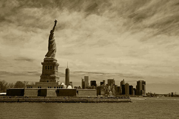 Photograph - Lady Liberty Overlooking New York City Sepia by Toby McGuire