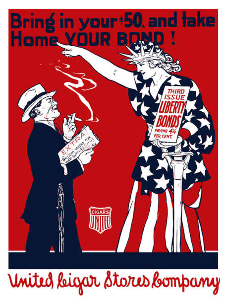 Cigar Painting - Lady Liberty War Bonds - Ww1 by War Is Hell Store
