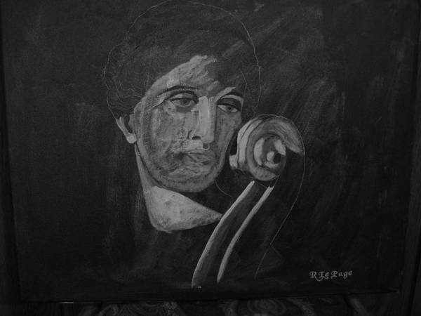 Painting - Lady Look At Cello Scroll by Richard Le Page