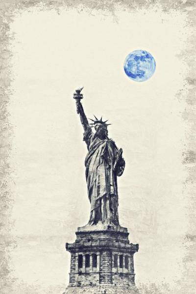 Manhattan Skyline Painting - Lady Of Libery And Freedom By Adam Asar 3 by Adam Asar 3