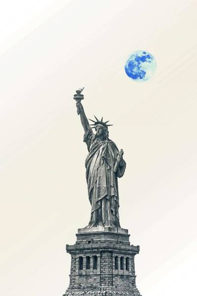 Manhattan Skyline Painting - Lady Of Libery And Freedom By Adam Asar 4 by Adam Asar 4