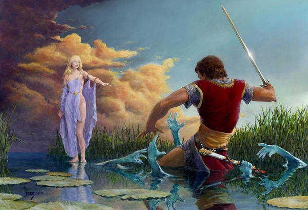 Summoning Wall Art - Painting - Lady Of The Waters by Richard Hescox