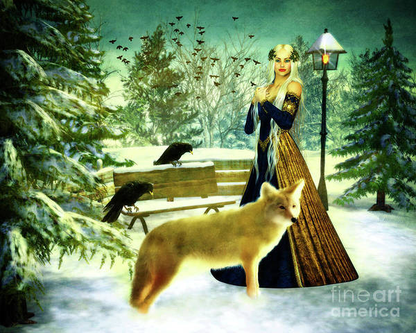 Park Bench Mixed Media - Lady Of Winter by KaFra Art