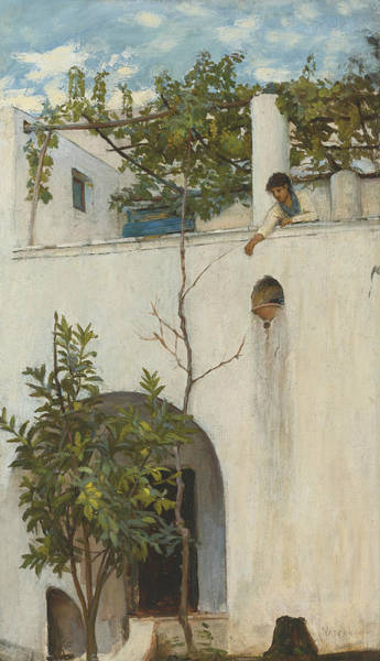 Wall Art - Painting - Lady On A Balcony, Capri by John William Waterhouse