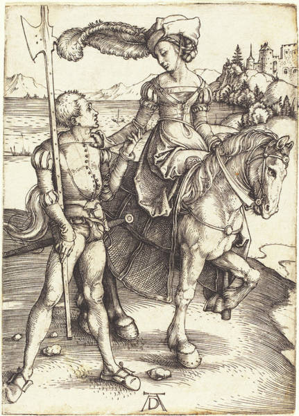 Drawing - Lady On Horseback And The Lansquenet by Albrecht Durer