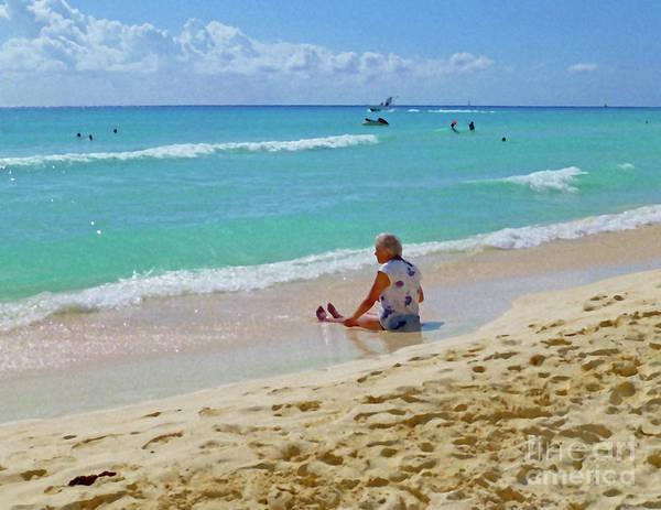 Digital Art - Lady On The Beach by Francesca Mackenney