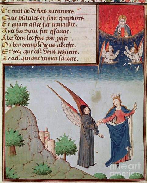 Flying Drawing - Lady Philosophy Leads Boethius In Flight Into The Sky On The Wings That She Has Given Him by French School
