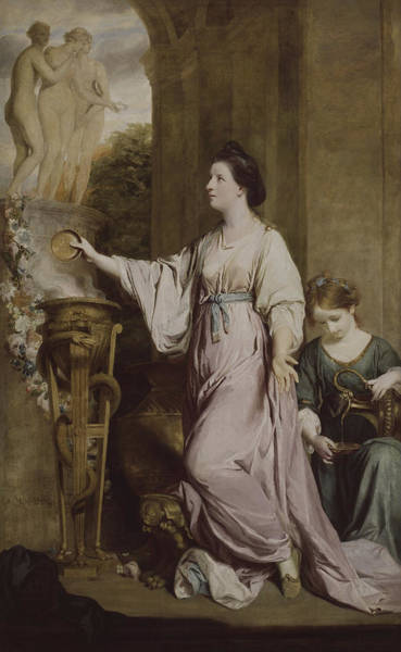 Lady In Waiting Painting - Lady Sarah Bunbury Sacrificing To The Graces by Joshua Reynolds