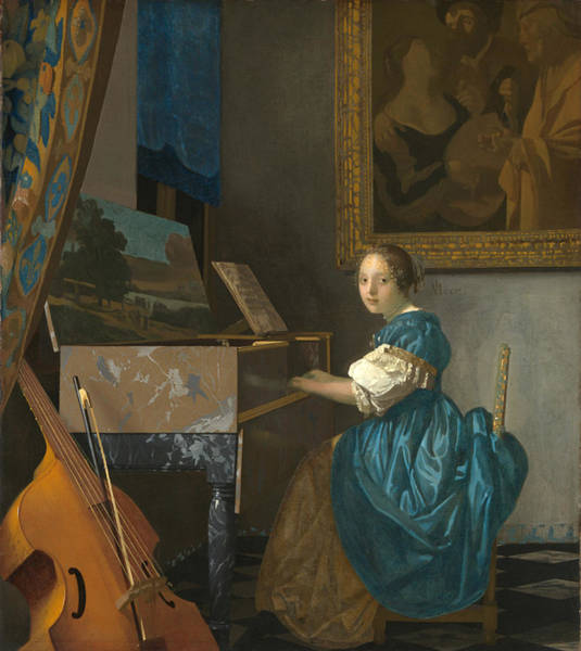 Lady Seated At A Virginal Art Print