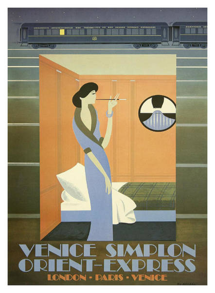 Vintage Train Painting - Lady Smoking In Couchette, Railway Poster by Long Shot