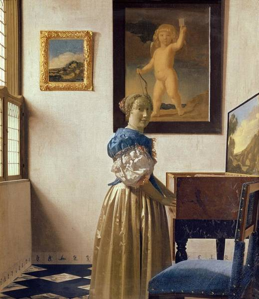 Wall Art - Painting - Lady Standing At The Virginal by Jan Vermeer
