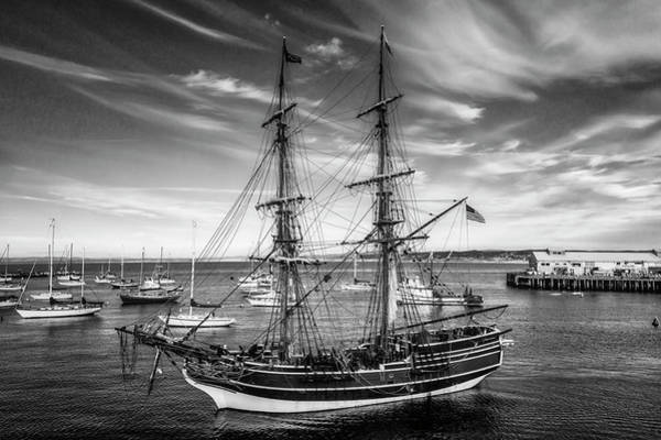 Rigging Photograph - Lady Washington In Black And White by Garry Gay