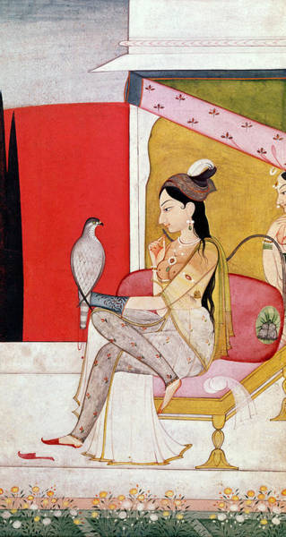 Lady Slipper Wall Art - Painting - Lady With A Hawk by Guler School