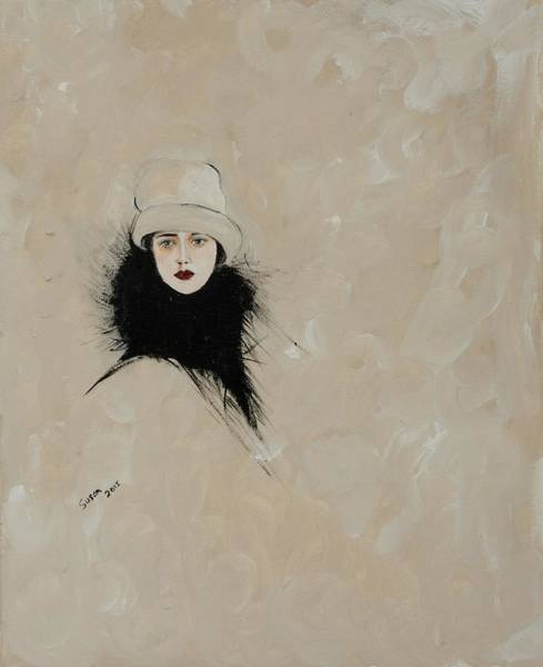 Scarf Drawing - Lady With Black Fur by Susan Adams