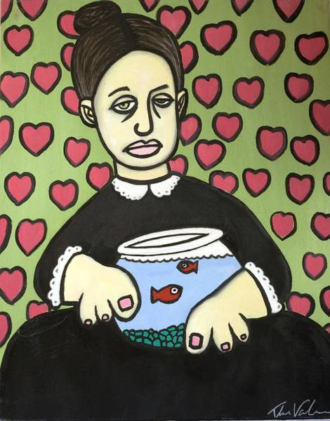 Wall Art - Painting - Lady With Fish Bowl by Thomas Valentine
