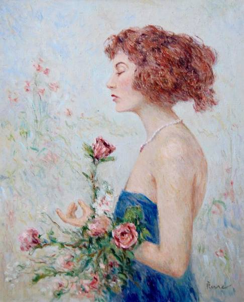 Lady With Roses  Art Print