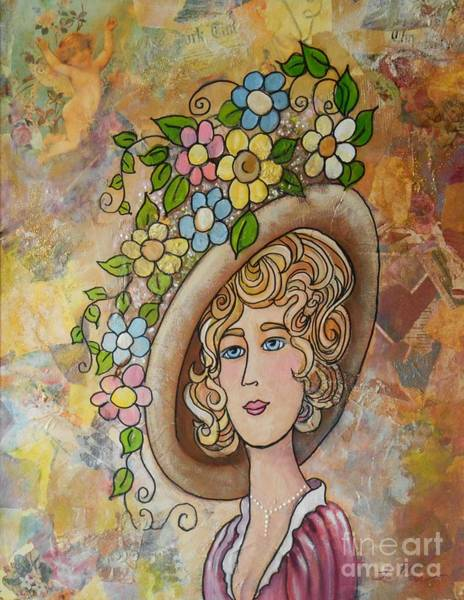 Paper Dress Mixed Media - Lady With The Flowered Hat by Sue La Marr  Kramer