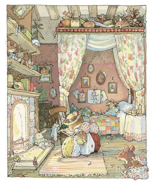 Wall Art - Drawing - Lady Woodmouse Gets Primrose Ready For Bed by Brambly Hedge