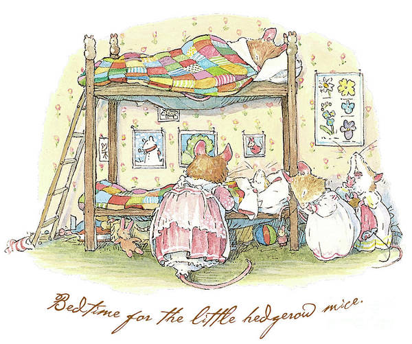 Wall Art - Drawing - Lady Woodmouse Gets The Little Mice Into Bed by Brambly Hedge