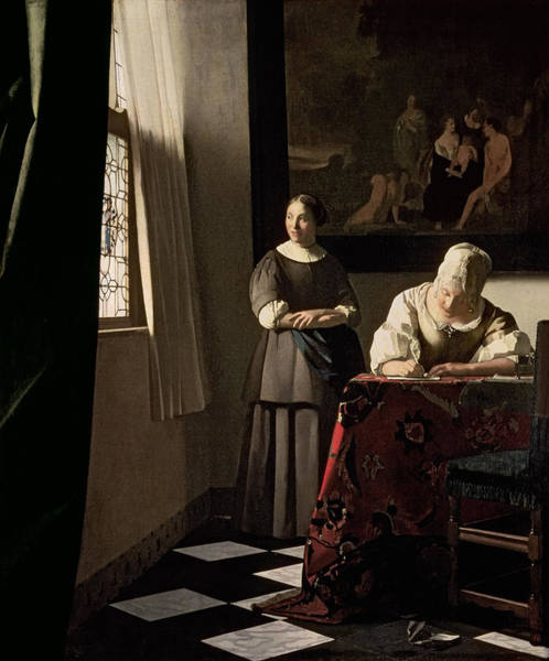 Crt Painting - Lady Writing A Letter With Her Maid by Jan Vermeer