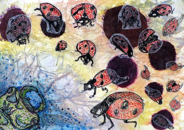 Complimentary Colors Mixed Media - Ladybug Brigade by Amanda Hurteau