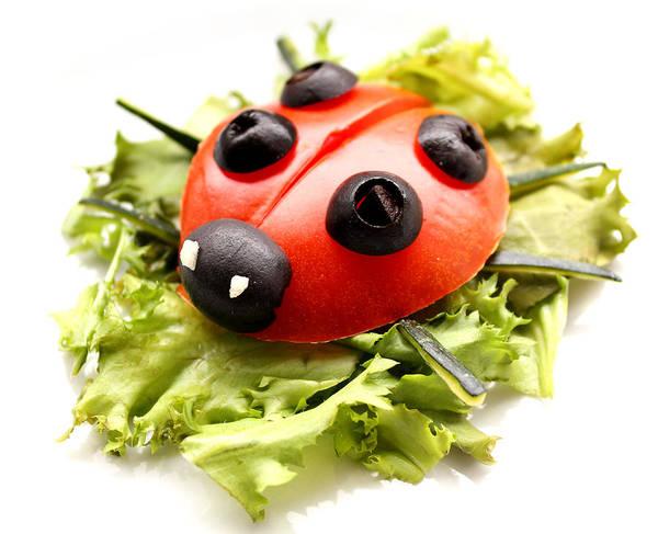 Ingredient Digital Art - Ladybug Made Of Raw Tomato On Lettuce Leaf by Karolina Perlinska