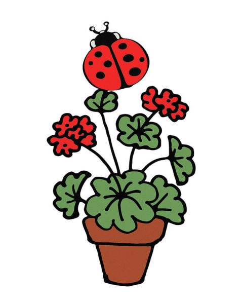 Red Geraniums Wall Art - Digital Art - Ladybug On Geranium Illustration  by Irina Sztukowski