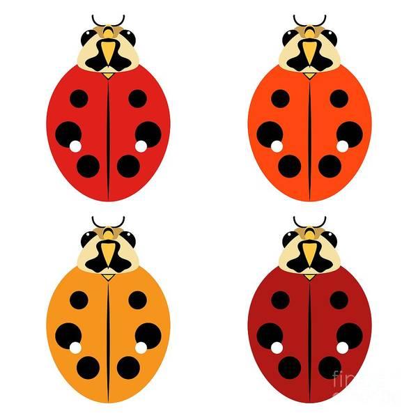 Digital Art - Ladybug Quartet by MM Anderson