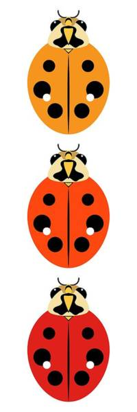 Digital Art - Ladybug Trio Vertical by MM Anderson
