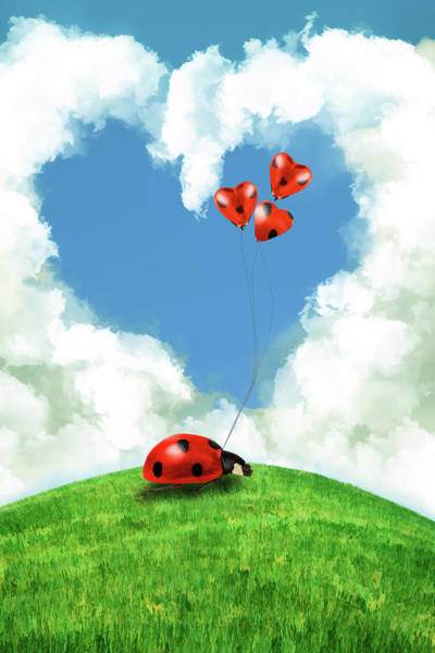 Wall Art - Digital Art - Ladybug With Heart Balloon by Mihaela Pater