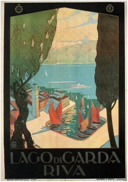 Wall Art - Mixed Media - Lago Di Garda Riva, Italy - Lake Garda - Retro Travel Poster - Vintage Poster by Studio Grafiikka
