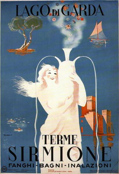 Statue Mixed Media - Lago Di Garda - Terme Sirmione, Italy - Retro Travel Poster - Vintage Poster by Studio Grafiikka
