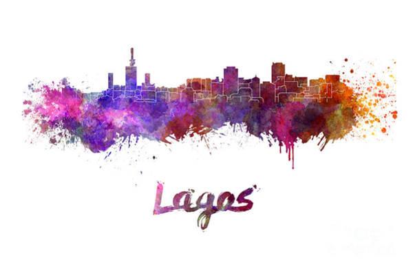 Nigeria Painting - Lagos Skyline In Watercolor by Pablo Romero
