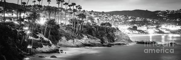 Laguna Mountains Photograph - Laguna Beach At Night Black And White Panorama Picture by Paul Velgos