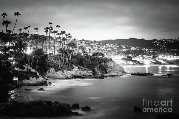 Laguna Mountains Photograph - Laguna Beach At Night Black And White Picture by Paul Velgos