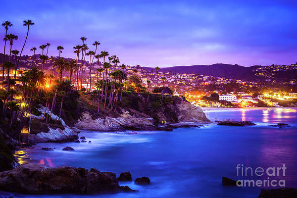 Wall Art - Photograph - Laguna Beach California City At Night Picture by Paul Velgos