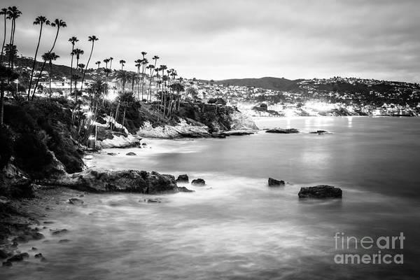 Laguna Mountains Photograph - Laguna Beach California City Black And White Photo by Paul Velgos