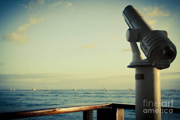 Photograph - Lahaina Telescope Seascape Scenic Viewer Parapet by Sharon Mau